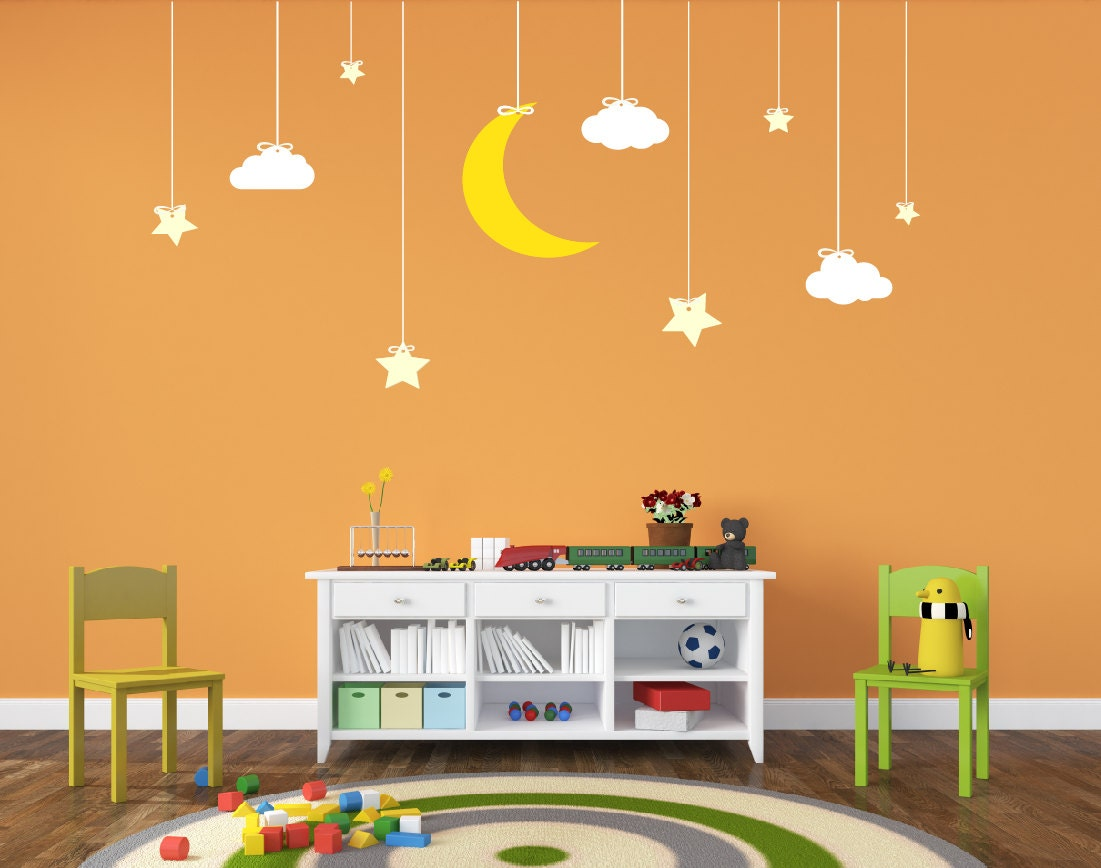 Nursery Decor Hanging Stars And Moon Decal Space Decal Vinyl