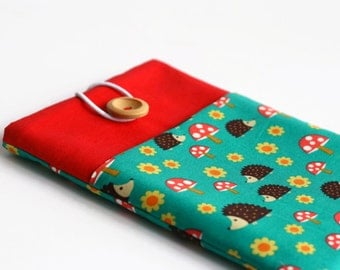 iPad Air Case, iPad Cover, Cute iPad Case - Hegehogs on Red and Teal Padded iPad Sleeve With Pocket