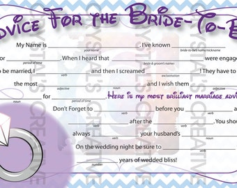 Marriage Advice MadLib Bridal Shower Game Printable