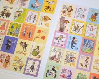 Wizard of Oz Stickers -  Cute Retro Style Postage Stamps, 80 Pieces