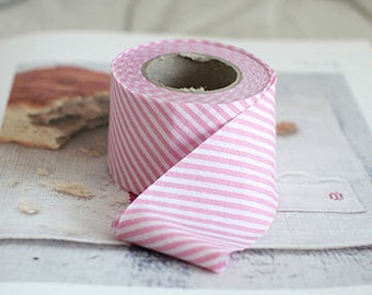 "1.6"" Cotton Blend Bias Tape Striped in Pink 1 roll 10 Yards 21336G 17409C"