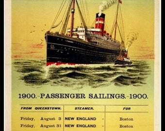 Art Print Boston Steamship New England 1900 Print 8 x 10