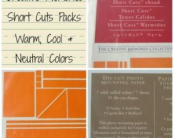 Creative Memories Short Cuts Paper Packs, Warm, Cool, Neutral, Die Cuts, Scrapbooking