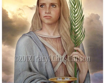 St. Lucy Art Print, Catholic Patron Saint of the blind #4124