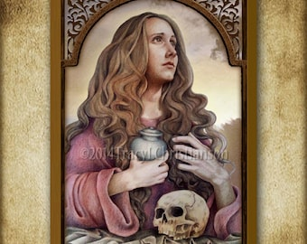 St. Mary Magdalene Wood Icon & Holy Card GIFT SET #1139