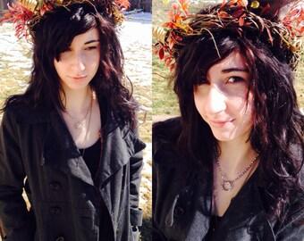 Sun-Kissed Sunset Fairy Dryad Headdress - Head Piece - Wedding - Bridal - Costume - Halloween - Photography