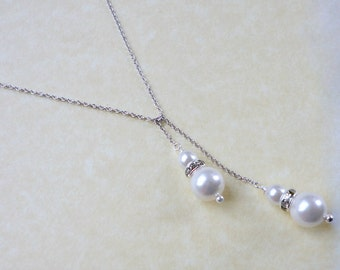 White gold pearl lariat necklace, Bridesmaid necklace, Wedding jewelry, Simple everyday necklace