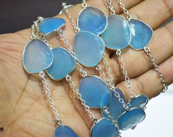 1 Foot beautiful Dreamy Blue Chalcedony Bazel Chain / Hand Made Chain