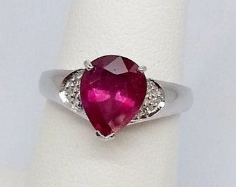2.22ctw Ruby & Diamond 925 Sterling Silver Ring Size 7