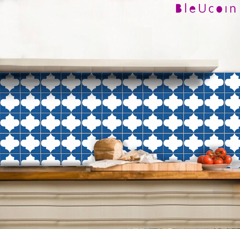 Bleucoin Tile Decal Backsplash: Tile Decal :Classic Moroccan Single Tile Pattern By Bleucoin