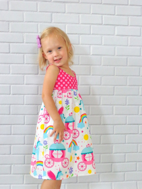 Girls Unicorn and Rainbows Princess Toddler Dress Boutique Clothing by Lucky Lizzy's