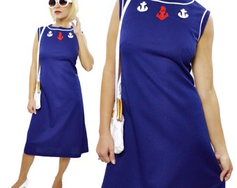 Vintage 60s Westover New York Pinup Nautical Sleeveless Dress