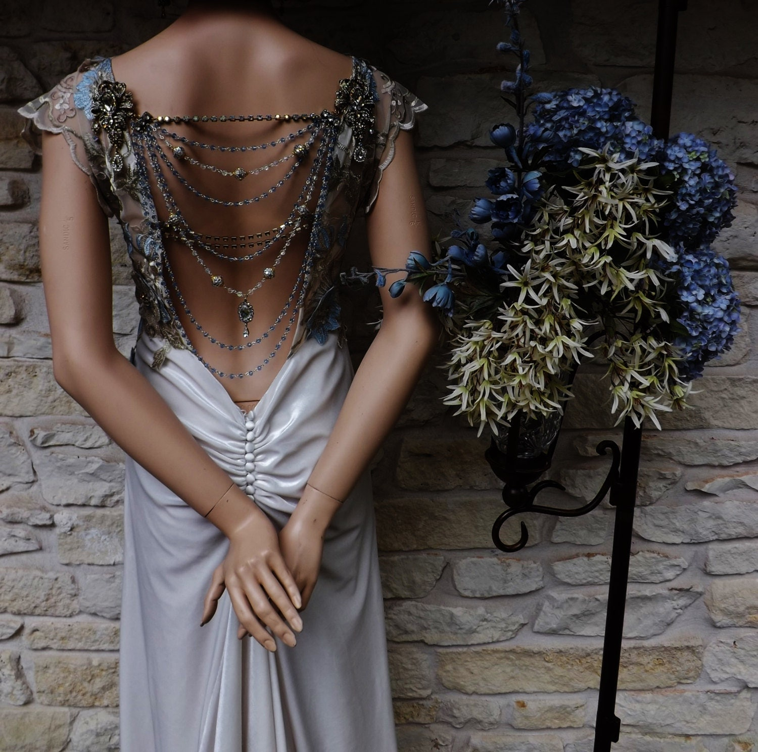 Gatsby Dresses: CUSTOM GREAT GATSBY Style Wedding Dress Beige Velvet Blue Gold