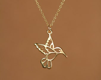 Humming bird necklace - gold hummingbird necklace - silver hummingbird - a 22k gold vermeil hummingbird on a 14k gold vermeil chain