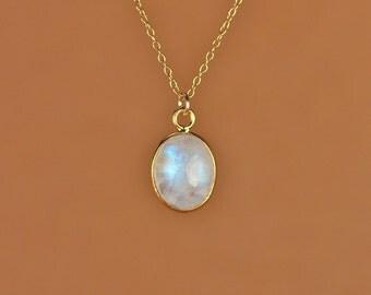 Moonstone necklace - gold moonstone - june birthstone - rainbow moonstone - 22k gold bezel set polished moonstone on 14k gold vermeil chain