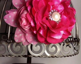 Hot pink hair clip, pink hair flower, satin hot pink flower with pearl and rhinestone center, girls hair clip hair accessory
