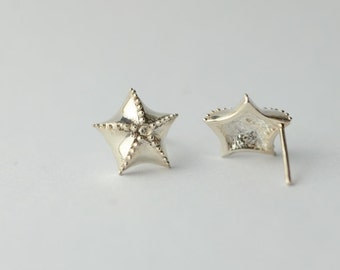 925 Sterling Silver Star Starfish Shining Hand-made Earrings 581