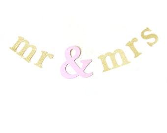 Mr & Mrs Gold glitter and Pink shimmer Banner - Wedding Garland , Text Bunting, Wedding Banner, Wedding Bunting, mr and mrs garland