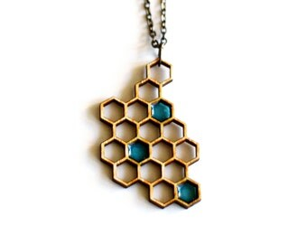 honey necklace - blue