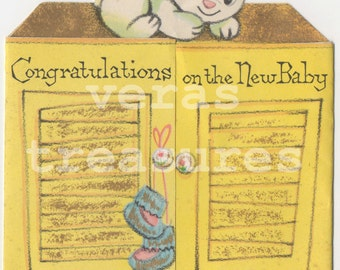 Vintage Style Baby Birth Congratulations card. Digital Images for card making or Crafts
