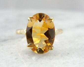 Pretty Vintage Split Prong Yellow Gold Citrine Statement Ring 5X1WTT-D