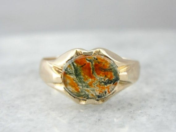 Golden Moss Agate: Retro Era Yellow Gold And Carnelian Moss Agate Mens By
