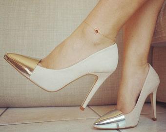 14k Gold Garnet Stone Anklet