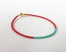 Red and turquoise bracelet, friendship bracelet, minimalist bracelet, dainty bracelet, red beaded bracelet, seed bead bracelet,red and aqua
