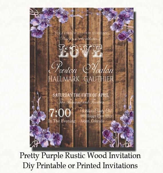 Pretty purple rustic wood wedding invitation