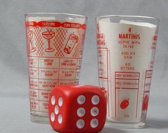 Pair of Vintage Mid-Century Barware - Mixed Drink Recipe Tumblers, Circa 1950s, 1960s - Madmen