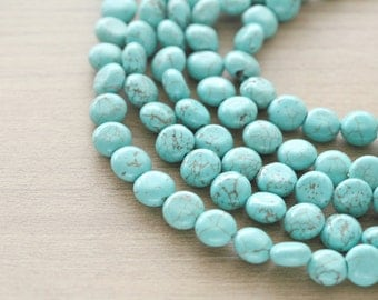 10 pcs of  Natural Turquoise Beads - Flat Round  - 10mm