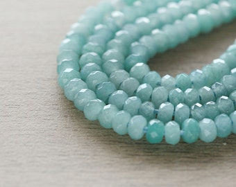 40 pcs of Natural Jade Dyed Light Sea Green Abacus Faceted Beads - 4 - 5 mm