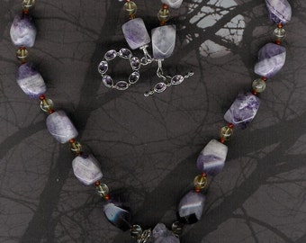 Drunk With Beauty - Amethyst Drusy Pendant, Amethyst, Citrine, Carnelian, Sterling Silver Necklace February Birthstone Valentine Gift