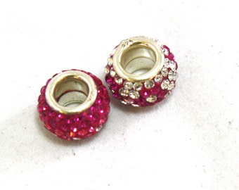 Set of 2 Pink and Clear Swarovski Crystal Large Hole Euro Beads in Solid Sterling Silver Clearance , BOGO
