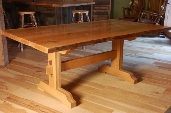 Items Similar To Live Edge White Oak Slab Trestle Table On