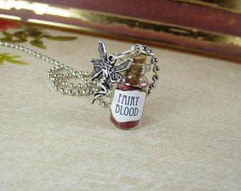 Fairy Blood 1ml Glass Bottle Necklace Charm - Vial Pendant - Fairy Blood Pixies Fairy Tale Glitter