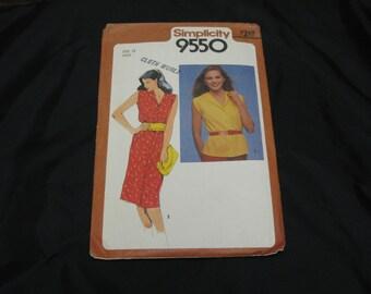 Simplicity 9550  Misses Size 12  Dress or Top  UNCUT pattern Vintage 1980