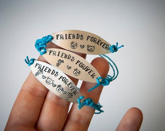 Friendship bracelet, bracelet with engraved metal tag, friends forever, cat, dog, girl, boy,bicycle, heart, best friends forever, gift ideas