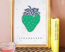 Strawberry/ fraise illustrated art print. home decor. kitchen decor. yellow. gold leaf. fruit print.