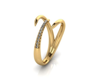 NEW 14K Yellow Gold Claw Ring with White Diamonds