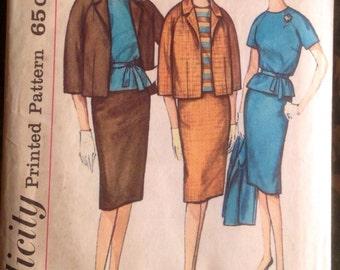 Vintage 1950s Slenderette Jacket, Skirt & Overblouse Suit Pattern / Simplicity 4141, size 18, XL, Plus