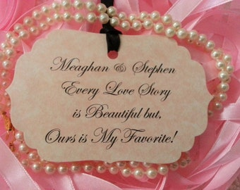 100 WISH TREE TAGS  Custom Our Love Story  Adorned Black Satin Ribbon