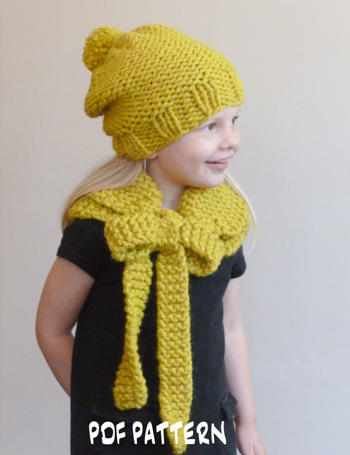 KNITTING PATTERN Slouchy Garter Stitch Beanie and Bow Cowl Set