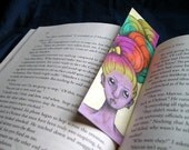 Multi-colored hair bow bookmark OOAK w/ ponytail on opposite side
