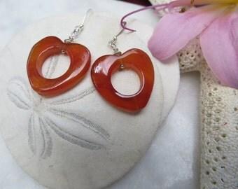 Agate Earrings, Red Agate Earrings, Heart Earrings, Agate Heart Earrings, Silver Earrings, Sterling Silver Earrings, Gemstone Earrings