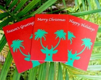 Tropical Christmas card Palm tree Christmas card Tropical holiday card Palm tree card Reindeer antlers Palm tree Christmas cards tropical