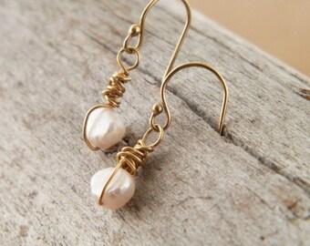 Wire wrapped jewelry - June Birthstone - Gold dangle earrings - petite earrings