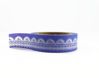 Lace Washi Tape in Wedgewood Blue - Scallop Edge Lace Masking Tape