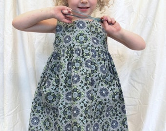 Mira dress from vintage fabric for girls