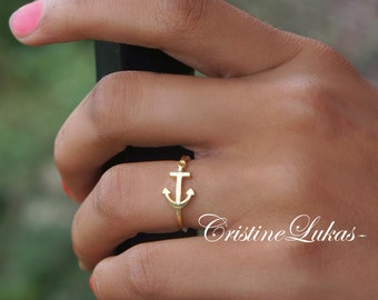 10K, 14K or 18K Solid Gold - Celebrity Style Sideways Anchor Ring  - Order is Yellow, Rose Or White Gold - Kid's or Adult Sizes Evailable